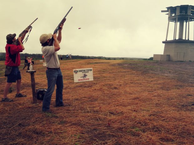 sporting clays hunter at Prairie Wildlife Farms during Mossy Oak Properties Fox Hole Shootout