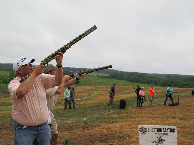 hunters at sporting clays during Mossy Oak Properties Charity Event